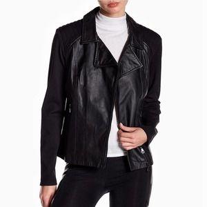 David Lerner leather quilted shoulder moto jacket